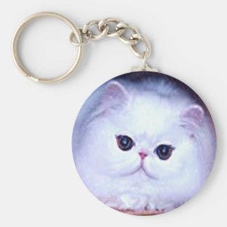 Gatito blanco persa del gatito del gato llaveros personalizados