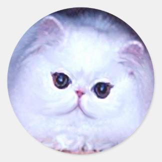 Gatito blanco persa del gatito del gato pegatina redonda