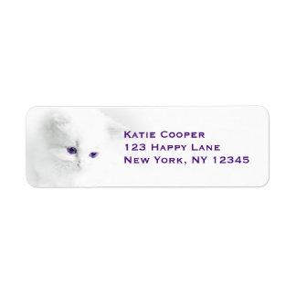 Gatito blanco suave con los ojos púrpuras etiqueta de remite