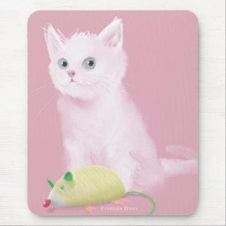 Gatito blanco tapete de ratones