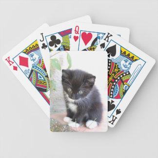 Gatito blanco y negro baraja de cartas