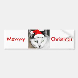 Gatito blanco y negro del navidad etiqueta de parachoque