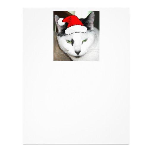 Gatito blanco y negro del navidad plantilla de membrete
