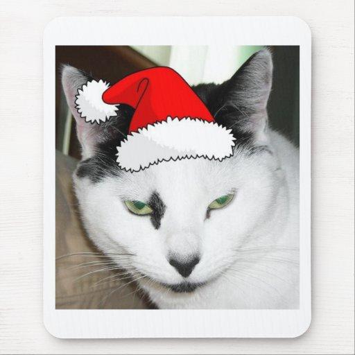 Gatito blanco y negro del navidad alfombrillas de raton