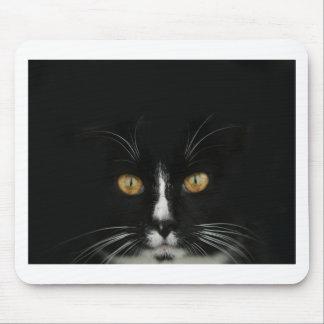 Gatito blanco y negro del smoking con los ojos de  tapetes de raton