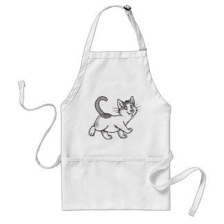 Gatito blanco y negro delantal