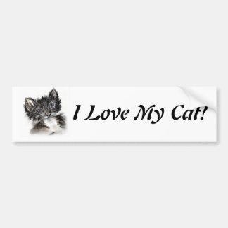 Gatito blanco y negro lindo pegatina para auto