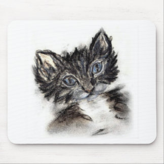 Gatito blanco y negro lindo tapetes de ratón