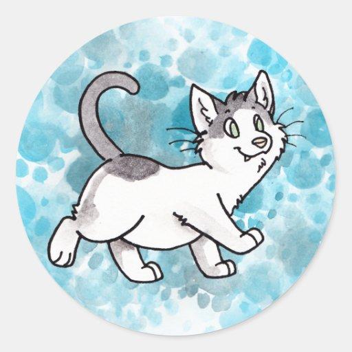 Gatito blanco y negro pegatina redonda