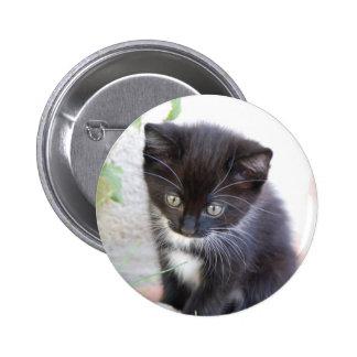 Gatito blanco y negro pin redondo de 2 pulgadas