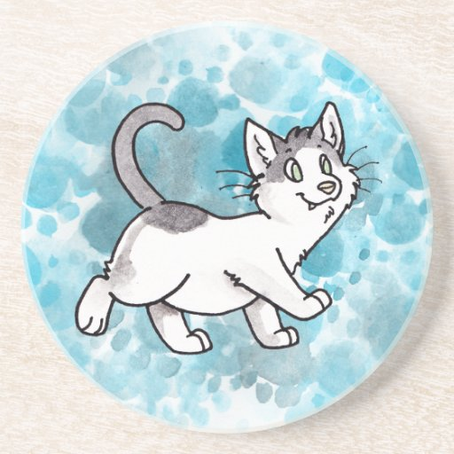 Gatito blanco y negro posavasos diseño