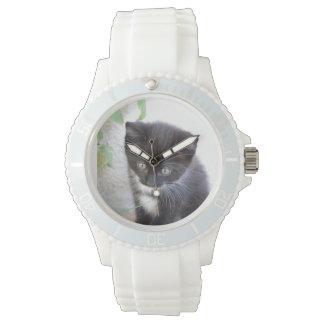 Gatito blanco y negro relojes de pulsera