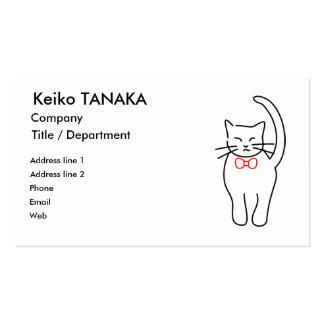 Gatito bonito con el arco rojo tarjetas de visita