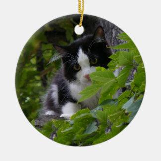 Gatito bonito adorno redondo de cerámica