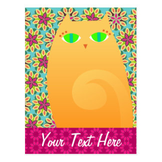 Gatito bonito del jengibre en floral - postal de e