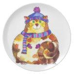 Gatito caliente y mimoso del gato del gatito platos de comidas