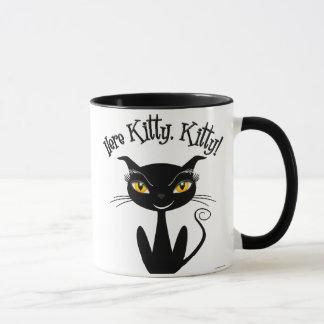 ¡Gatito caprichoso del gato negro aquí, gatito!