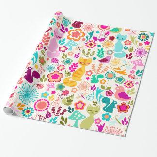 Gatito caprichoso del jardín - papel de embalaje papel de regalo