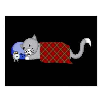 Gatito Catnapping con la manta de la tela escocesa Tarjeta Postal