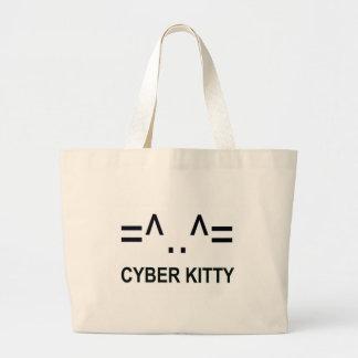 Gatito cibernético bolsa tela grande