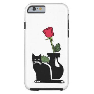 Gatito color de rosa romántico funda de iPhone 6 tough