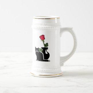 Gatito color de rosa romántico jarra de cerveza