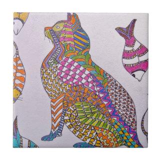 Gatito colorido azulejo cuadrado pequeño