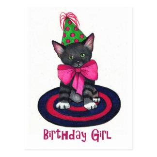 Gatito con el arco rosado: Chica del cumpleaños: L Tarjetas Postales