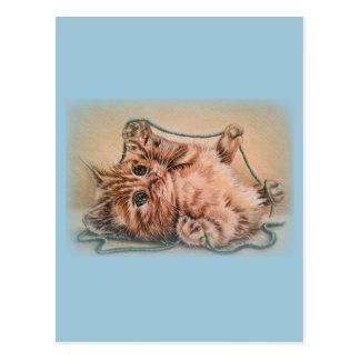 Gatito con el dibujo del hilado, ejemplo del arte postal