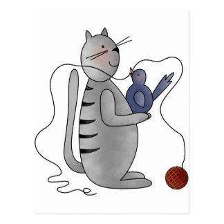 gatito con el pájaro tarjeta postal