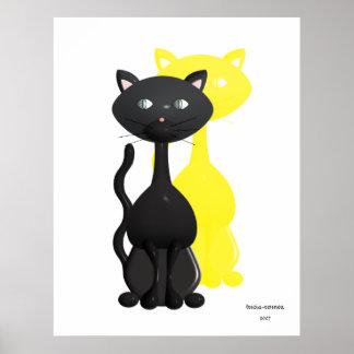Gatito con el poster amarillo de la sombra póster