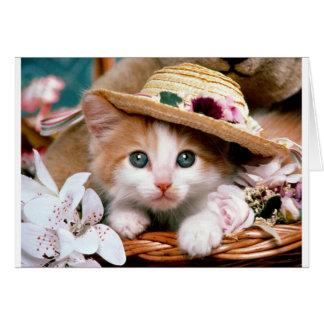 Gatito con el sombrero de paja tarjeta