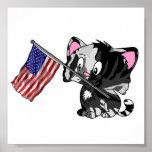 Gatito con la bandera impresiones
