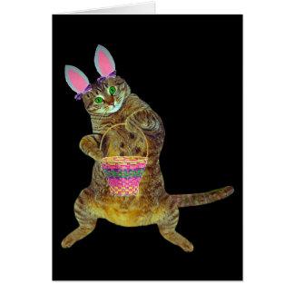Gatito con la cesta de Pascua Tarjeta De Felicitación