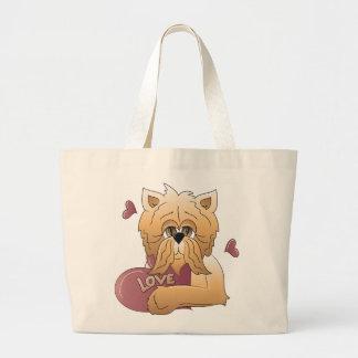 Gatito con la tarjeta del amor bolsas