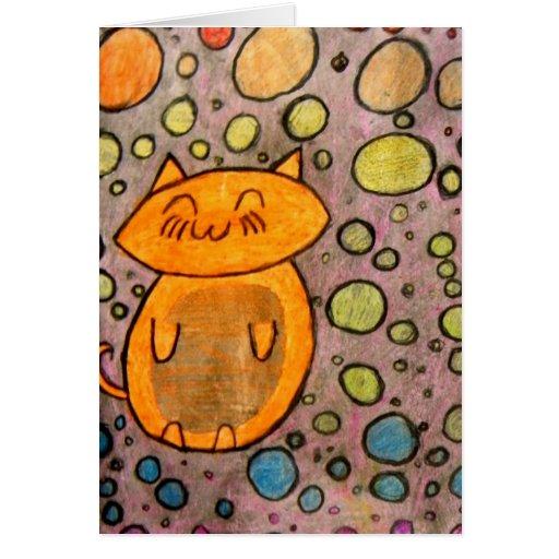 Gatito con las burbujas tarjetas