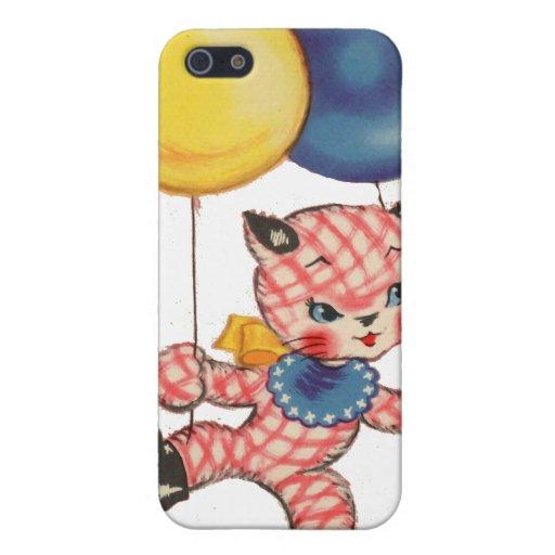Gatito con los globos iPhone 5 fundas
