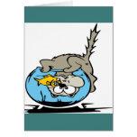 Gatito con su cabeza en un fishbowl tarjetas