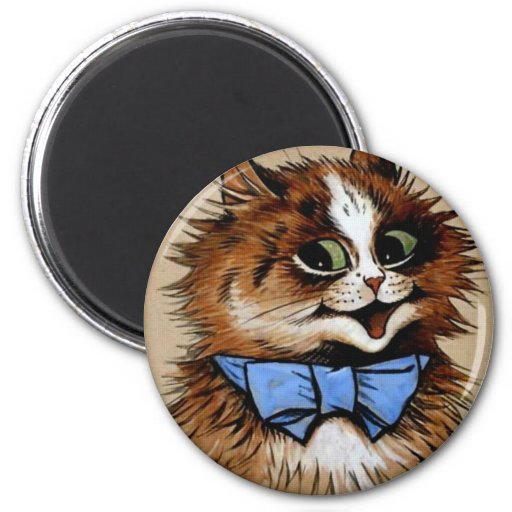 Gatito con una pajarita imán redondo 5 cm