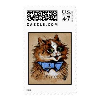 Gatito con una pajarita timbre postal