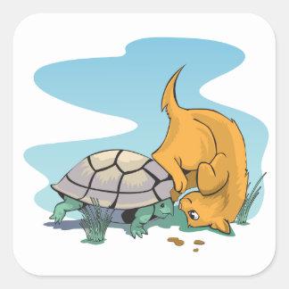 Gatito curioso con el pegatina de la tortuga