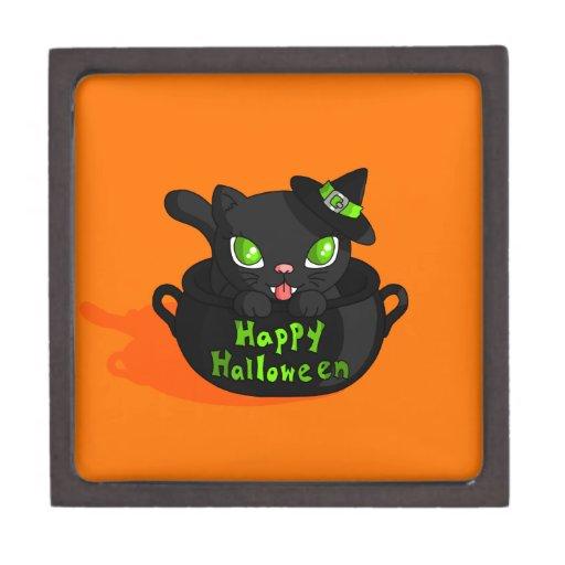 Gatito de Halloween Cajas De Recuerdo De Calidad