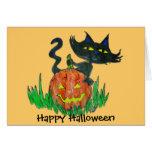 Gatito de Halloween de la tarjeta de Halloween