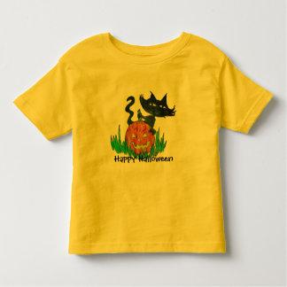 Gatito de Halloween de la te del niño de Halloween Playera