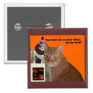 Gatito de Halloween - desgaste qué Pin Cuadrado