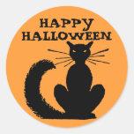 Gatito de Halloween Pegatina Redonda