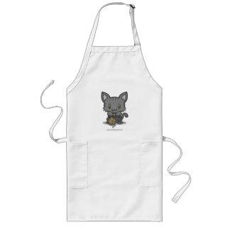 Gatito de Kawaii (gris rayado) Delantal Largo