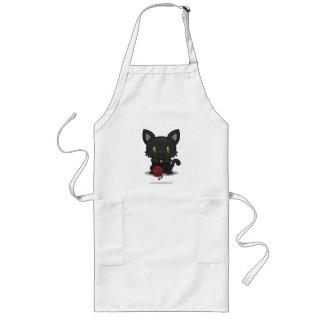 Gatito de Kawaii (negro) Delantal Largo