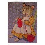 Gatito de Knittin Tarjeta De Felicitación