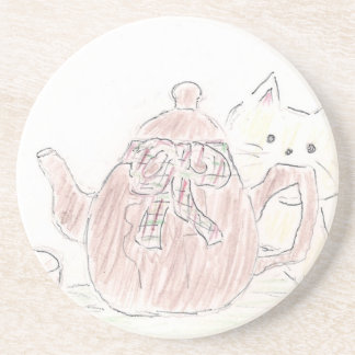 Gatito de la caldera de té posavasos diseño